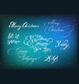 christmas lettering 2018 blue background vector image