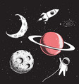 collection set of space elements vector image vector image
