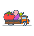 colorful truck with giant vegetables vector image vector image