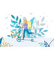 courier delivering food basket on electric scooter vector image vector image