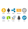 cryptocurrency flat set vector image