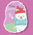 cute polar bear with hat and sweater snowflakes vector image