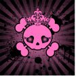 cute skull with crown vector image vector image