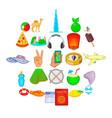 estival icons set cartoon style vector image vector image