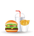 fast food set soda french fries and burger vector image