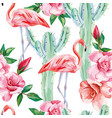 flamingo cacti roses seamless pattern vector image