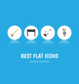 flat icon farm set of tool barbecue grass-cutter vector image vector image