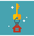 Flat with key and house tag isolated vector image