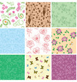 flowers and butterflies on seamless patterns vector image vector image