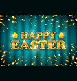 gold happy easter balloon drawn on blue vector image vector image
