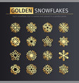 golden snowflakes icons set vector image