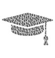 graduation cap composition of dollar and dots vector image