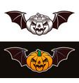 halloween pumpkin with bat wings two styles
