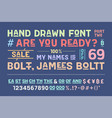 hand-drawn alphabet and font part two vector image vector image