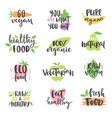 hand drawn style set bio organic eco healthy vector image