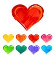 hand-drawn various hearts vector image