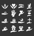 hand protect icon set grey vector image vector image