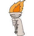 hand with flaming torch victory and hornor vector image vector image