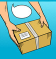 hands give package in box pop art vector image vector image