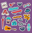 hipster style vintage stickers badges and patches vector image vector image