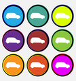 Jeep icon sign Nine multi colored round buttons vector image vector image