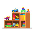 kids toys on wood rack vector image vector image