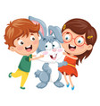 kids with rabbit vector image vector image