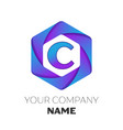 letter c logo symbol on colorful hexagonal vector image vector image