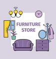 living room interior design with furniture for vector image