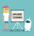 machine learning conceptual young female vector image vector image
