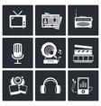 Media icon set - video news music TV recording vector image vector image