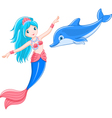 mermaid and dolphin vector image vector image
