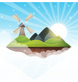 mill island mountain sun hill vector image