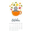 october 2019 year calendar page vector image vector image