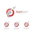 rocket and play button logo combination vector image vector image