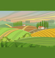 rural tuscany landscape in summer sunset vector image