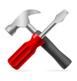 screwdriver and hammer on white background vector image