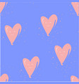 seamless pattern with hearts on blue hand drawn vector image vector image