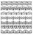 set of seamless ornate brushes vector image vector image