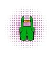 Short green pants icon comics style vector image vector image
