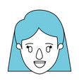 silhouette cartoon front view face closeup woman vector image vector image