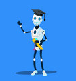 smart robot in graduate cap and diploma in hands vector image