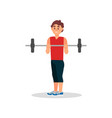 smiling guy doing exercise with barbell active vector image vector image