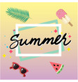 summer ice cream watermelon sun glasses square fra vector image vector image
