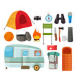 tourism equipment flat set vector image vector image