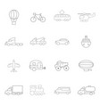 transportation icons in lines style on a white vector image vector image