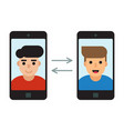 two men communicate with mobile phones vector image
