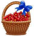 wicker basket with red flowers and blue bows vector image