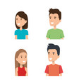 young people face portraits from woman and man vector image
