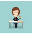 Business woman having fast food lunch vector image